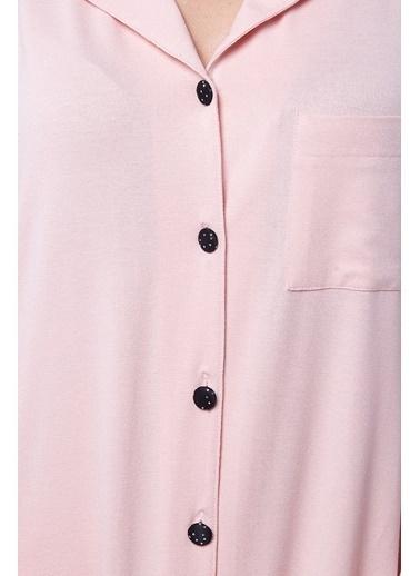 Pamuk & Pamuk Kadın Pembe Gömlek Pijama Takımı Pembe